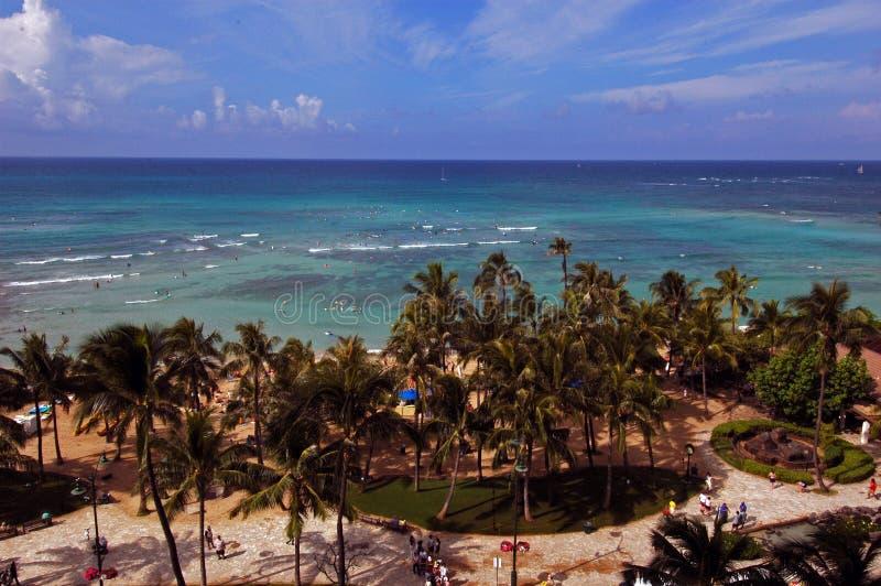 Plage d'Hawaï Waikiki image libre de droits