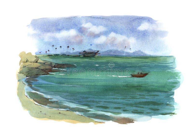 Plage d'illustration d'aquarelle vers la mer avec l'objet d'isolement coloré de roches, de bateaux et de parachutistes sur le fon illustration libre de droits