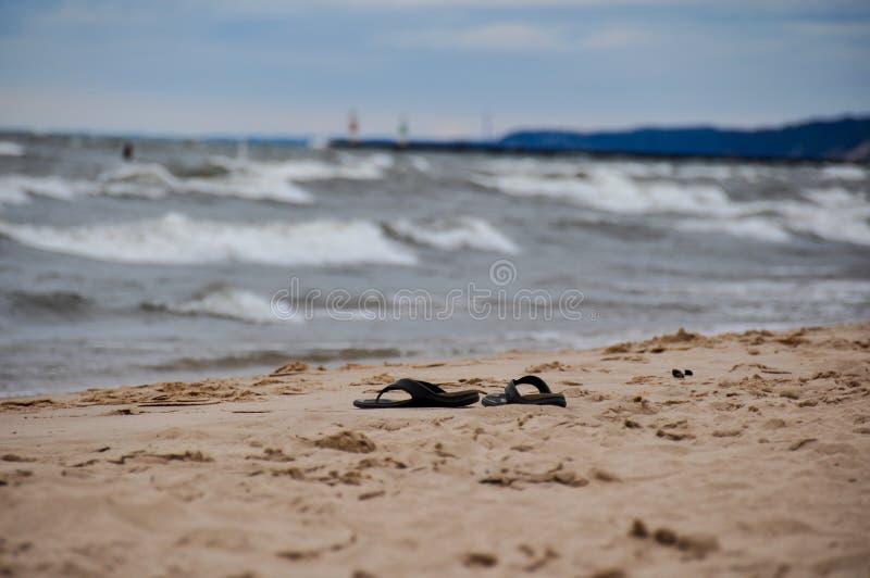 Plage d'Indiana Dunes State Park, Indiana, Etats-Unis images libres de droits