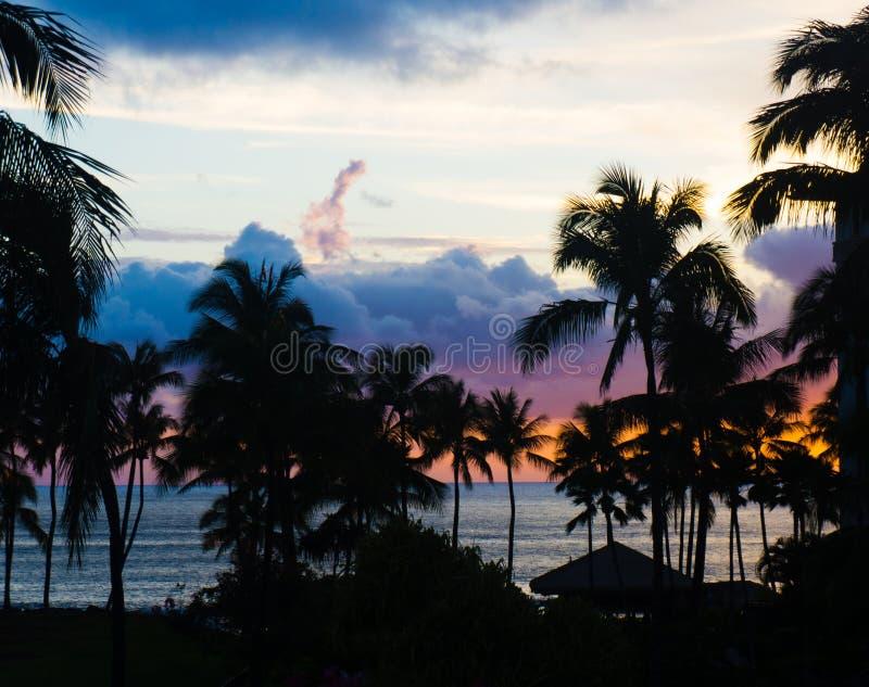Plage d'Oahu au coucher du soleil avec des paumes et des nuages images stock
