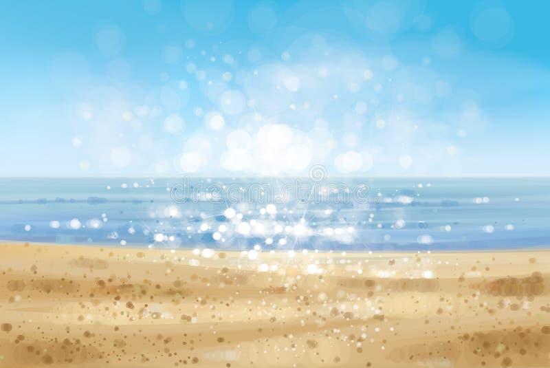 Plage d'océan de vecteur illustration de vecteur