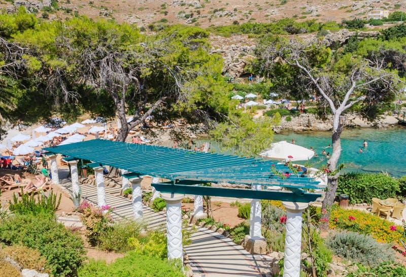 Plage dans les sources thermales Kallithea Île de Rhodes La Grèce photographie stock libre de droits