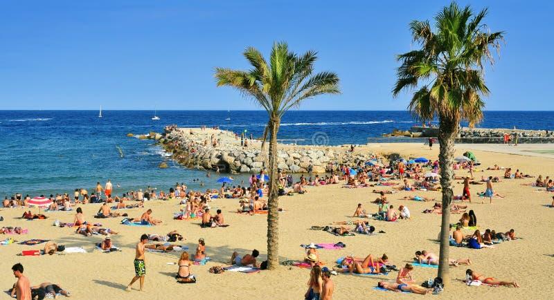 Plage de Barceloneta de La, à Barcelone, l'Espagne images stock