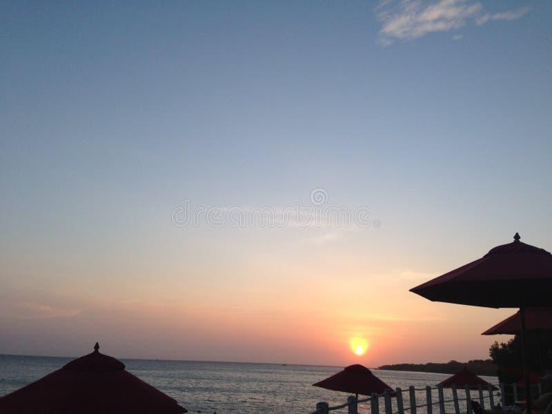 Plage de Baru de coucher du soleil à Carthagène Colombie images stock
