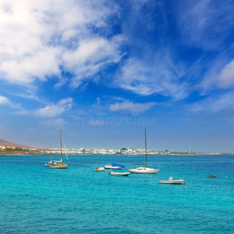 Plage de Blanca de Lanzarote Playa dans Océan atlantique photographie stock