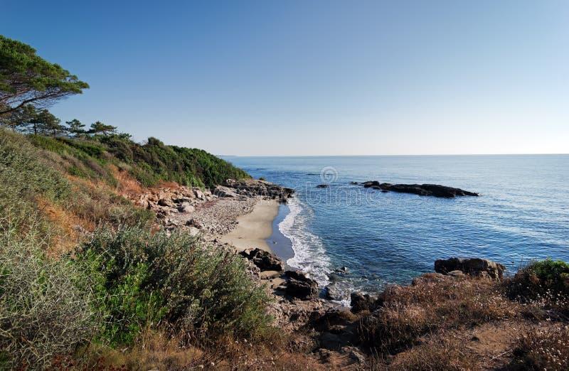 Plage de Bravone dans la côte de la Corse photos stock