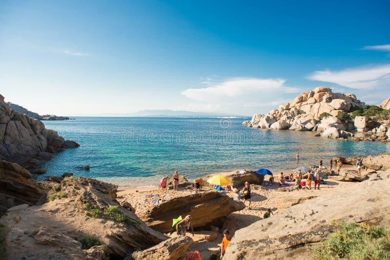 Plage de Cala Spinosa Testa de capo, île de la Sardaigne, Italie images libres de droits