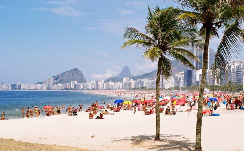 Plage de Copacabana dans Rio de Janeiro image libre de droits