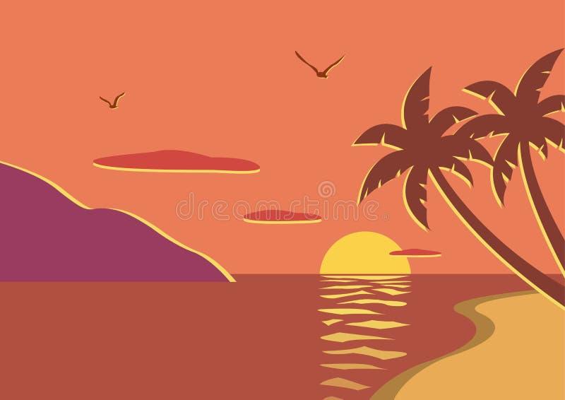 Plage de coucher du soleil avec des palmiers image libre de droits