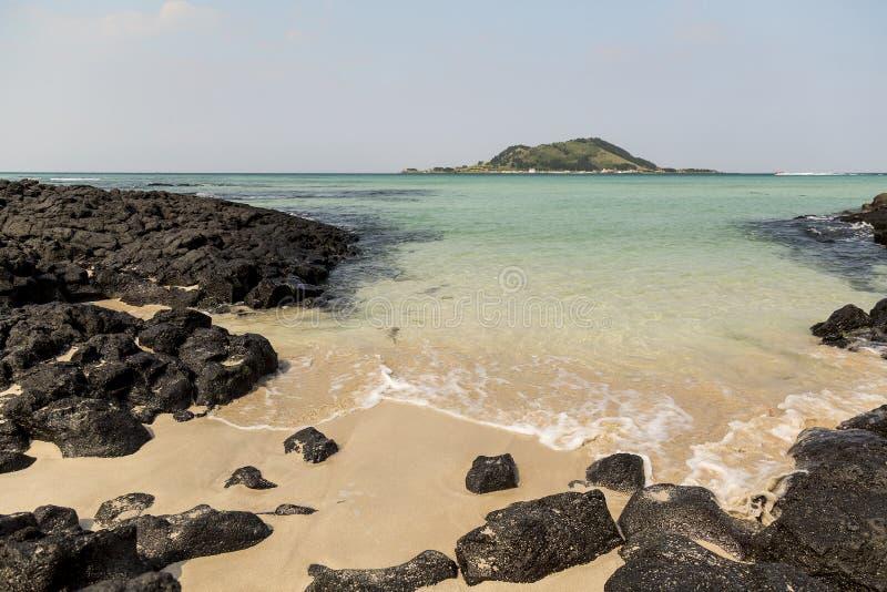 Plage de Hyeopjae en île de Jeju photo stock