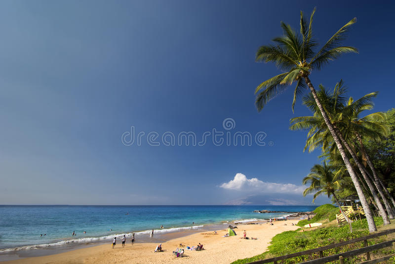 Plage de Kamaole III, rivage du sud de Maui, Hawaï photos stock