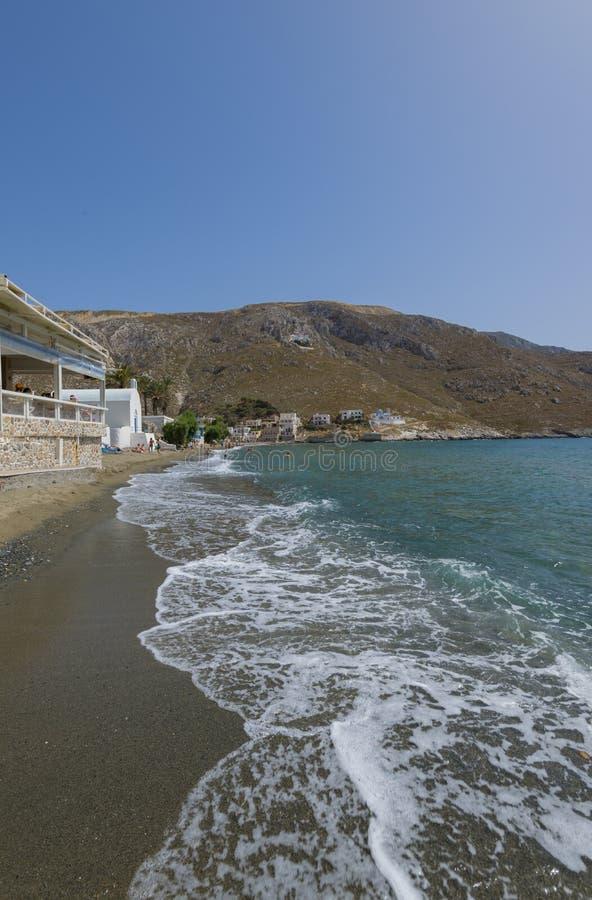 Plage de Kandouni, île de Kalymnos photographie stock libre de droits