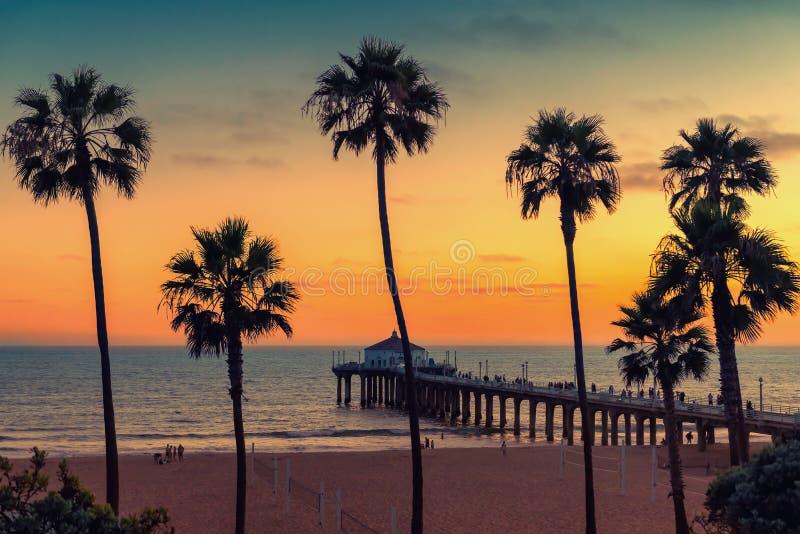 Plage de la Californie au coucher du soleil, Los Angeles, la Californie image libre de droits