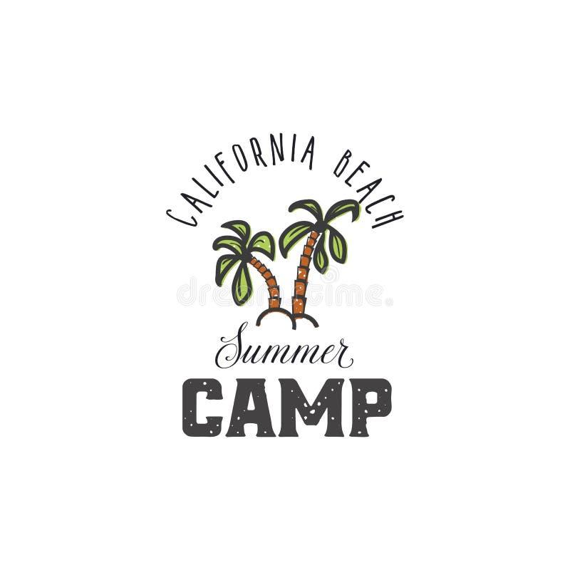 Plage de la Californie - colonie de vacances La conception d'impression de style de vintage, parce que le T-shirt imprime des cor illustration libre de droits