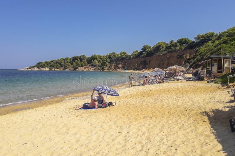 Plage de Mandraki, Skiathos, Grèce image libre de droits