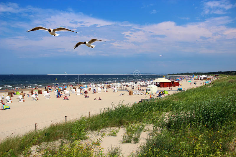 Plage de mer baltique dans Swinoujscie, Pologne image libre de droits
