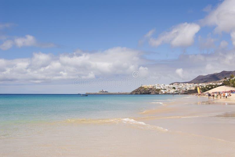 Plage de Morro Jable (Fuerteventura, Espagne) photos stock