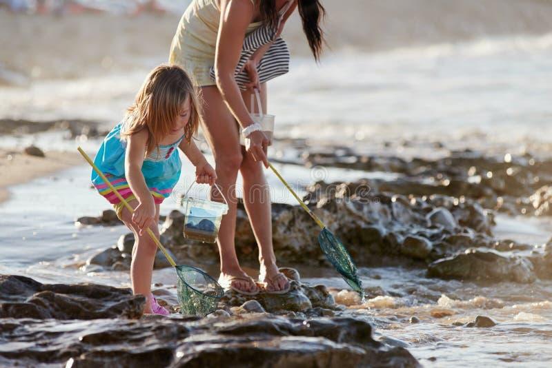 Plage de pêche de fille de mère photos stock