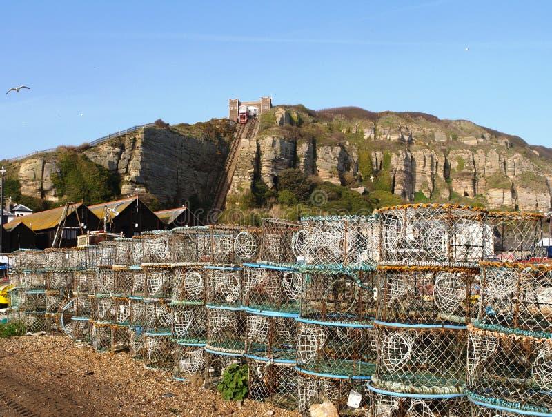 Download Plage de pêche de Hastings image stock. Image du funiculaire - 8673583