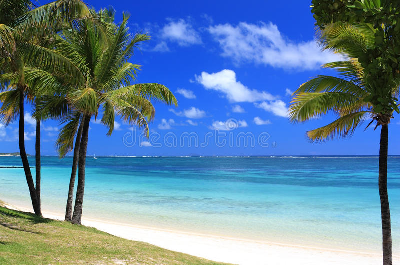 Plage de paradis en île des îles Maurice images stock