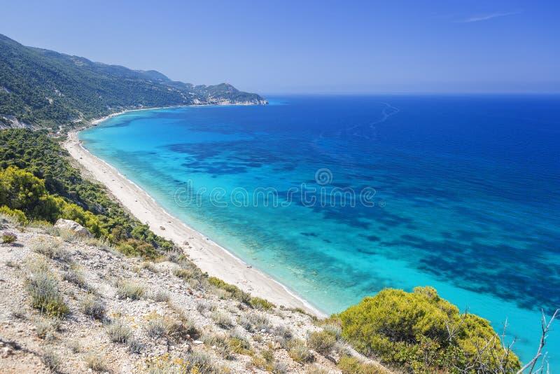 Plage de Pefkoulia, île de Leucade, Grèce images stock
