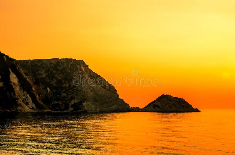Plage de Petani, île de Kefalonia, Grèce photos stock