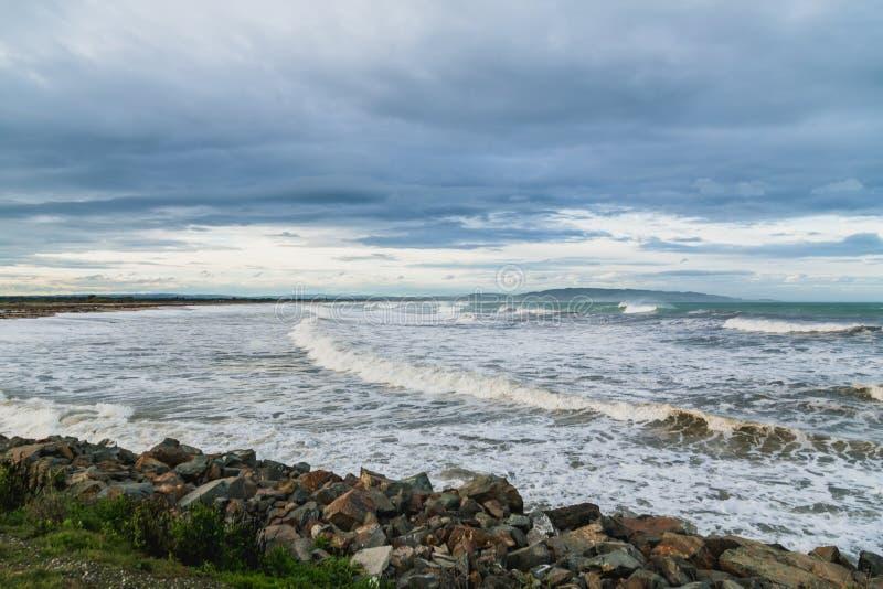 Plage de point de Kaka dans le Catlins, Nouvelle-Zélande image stock