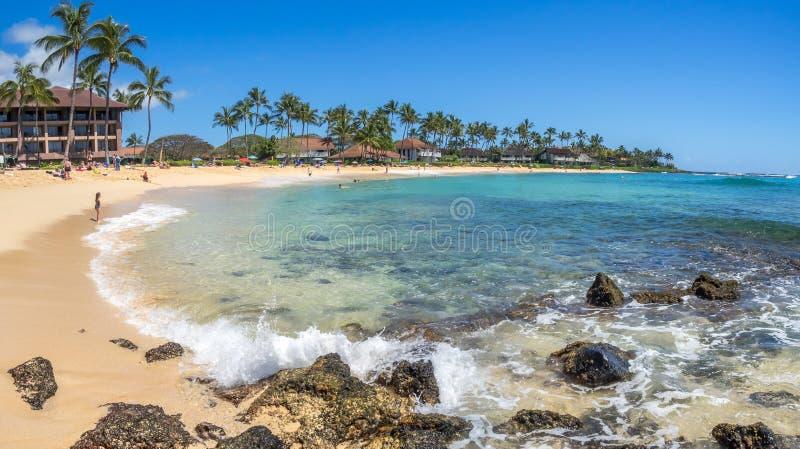 Plage de Poipu sur Kauai, Hawaï photographie stock