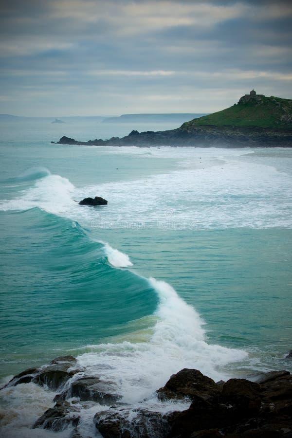 Plage de Porthmeor à la nouvelle année, St Ives, les Cornouailles photo stock