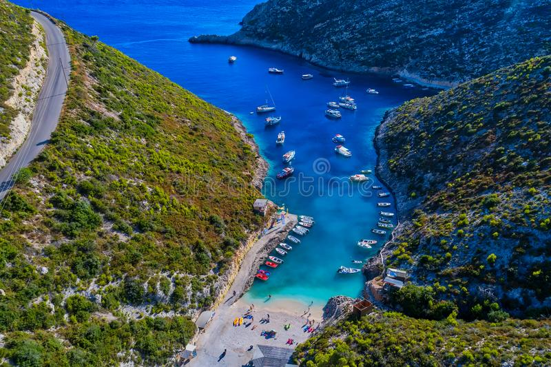 Plage de Porto Vromi en île de Zakynthos (Zante), en Grèce image stock