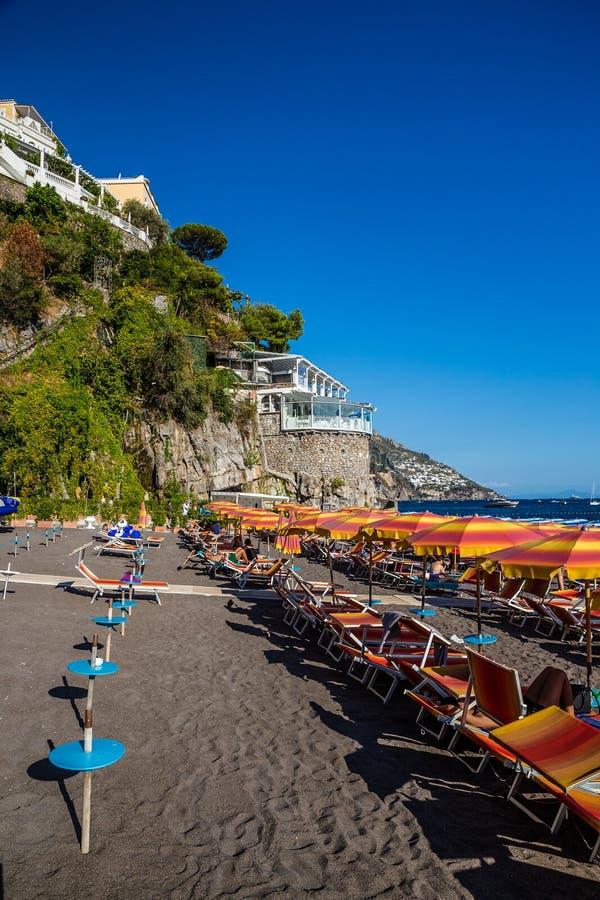 Plage de Positano - côte d'Amalfi, Italie image libre de droits