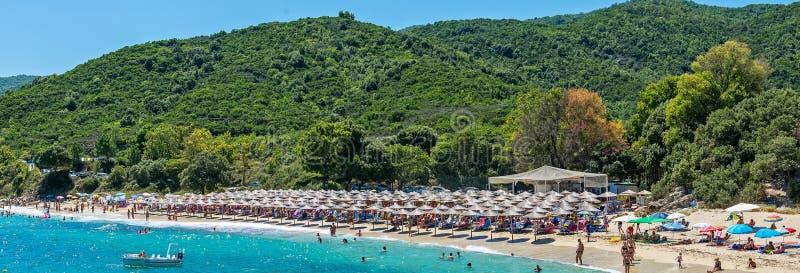 Plage de Proti Ammoudia, une des plages les plus belles en mer Égée photos libres de droits