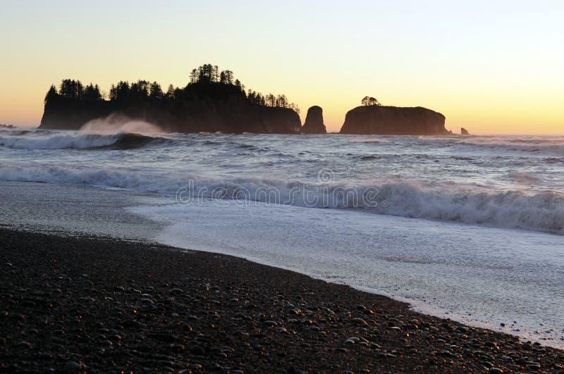 Plage de Rialto, péninsule olympique, l'état de Washington, Etats-Unis images stock
