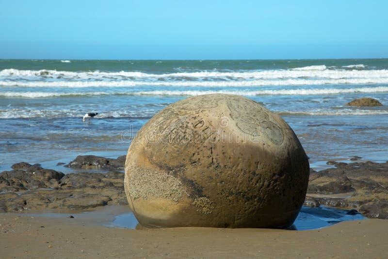 Plage de rochers de Moeraki au Nouvelle-Zélande photographie stock libre de droits