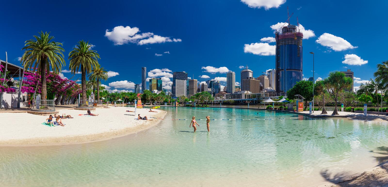 Plage de rues dans l'espace vert du sud de banque, Brisbane photos stock