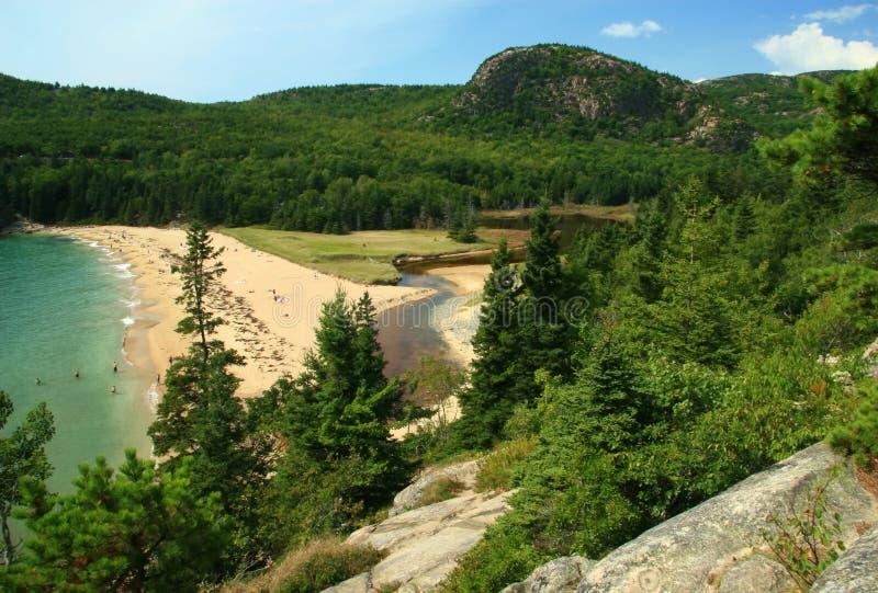 Plage de sable d'Acadia photos libres de droits