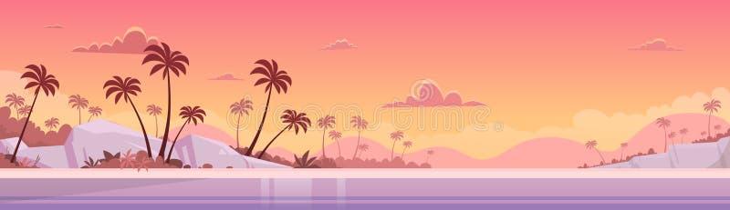 Plage de sable de bord de mer de coucher du soleil de vacances d'été illustration de vecteur