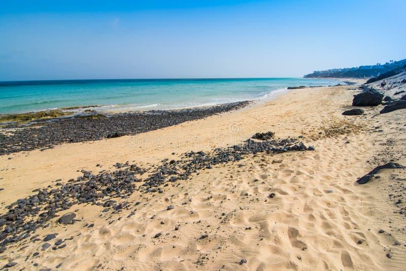 Plage de sable de Fuerteventura Jandia photographie stock