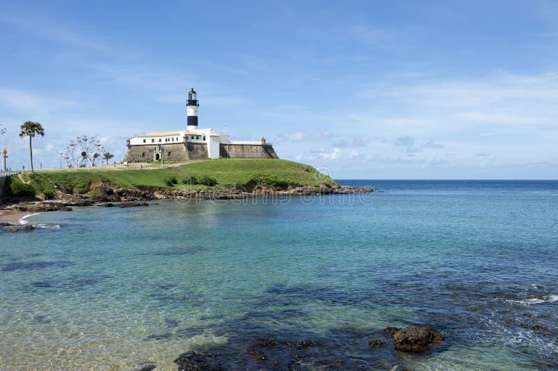 Plage de Salvador Brazil Farol da Barra Lighthouse photographie stock