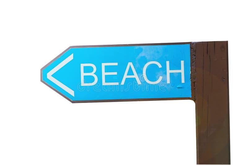 Plage de Signpost, en bois, vert, route vers la plage à gauche, isoler image libre de droits