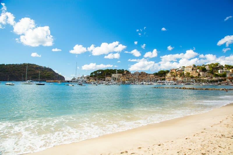 Plage de Soller de port, Palma de Mallorca images stock