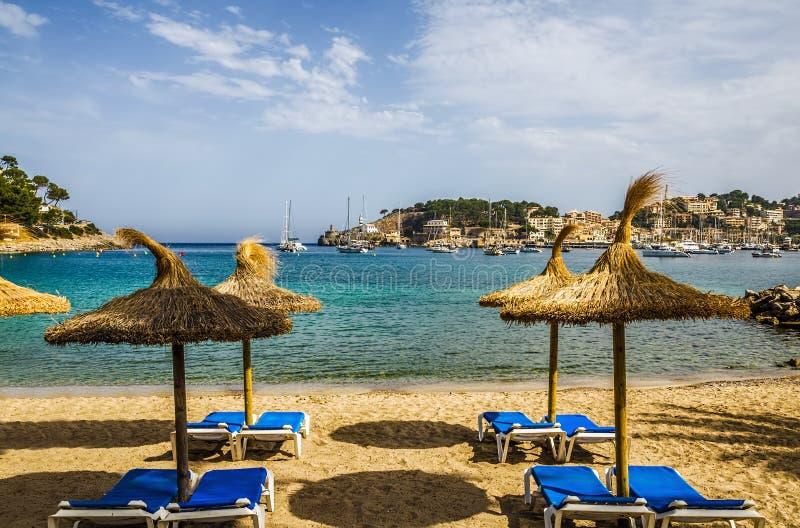 Plage de station de vacances, Port de Soller, Majorque image libre de droits