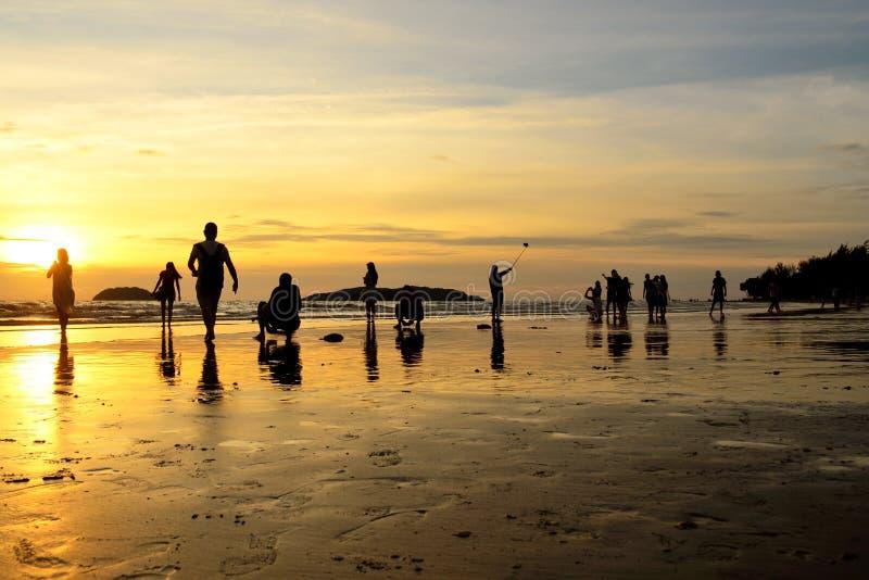 Plage de Tanjung Aru, Kota Kinabalu, Sabah image libre de droits