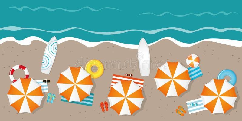 Plage de touristes avec des lunettes de soleil et des planches de surf de parapluies illustration libre de droits