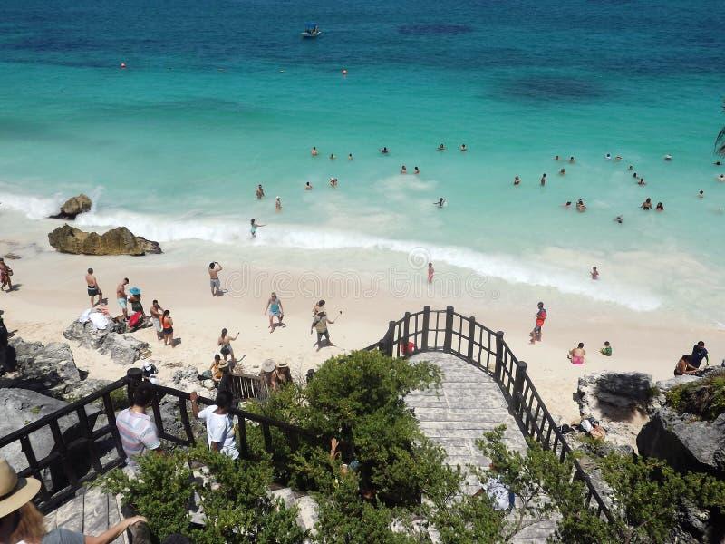 Plage de Tulum, Quintana Roo, Mexique images stock