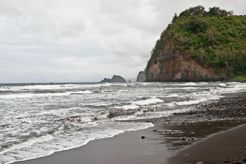 Plage De Vallée De Polulu Sur La Grande île En Hawaï Photo stock