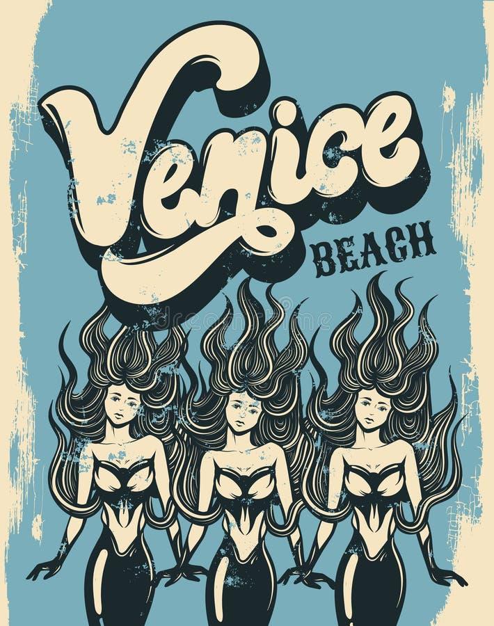 Plage de Venise Affiche colorée de vecteur avec le lettrage manuscrit illustration stock