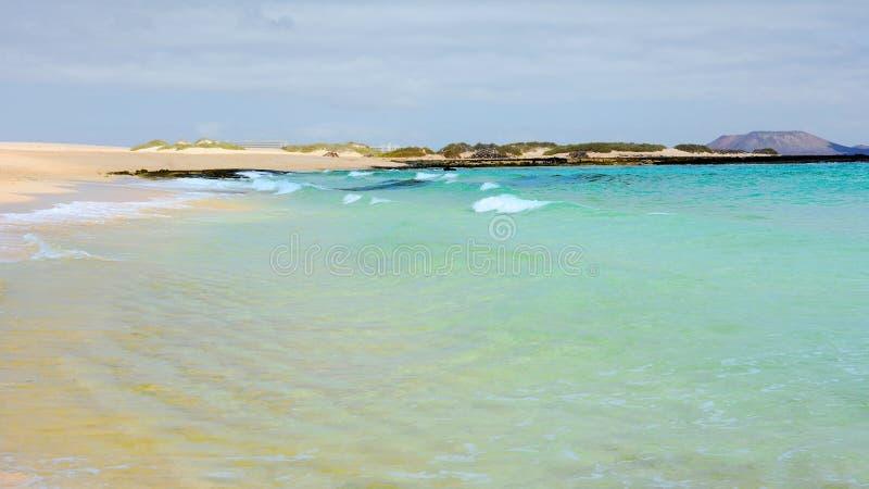 Plage de verre de Corralejo photo stock