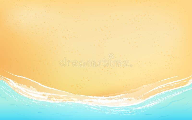 Plage de vue supérieure avec les vagues molles Fond illustration libre de droits