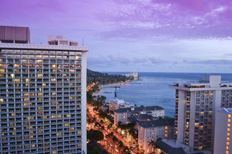 Plage de Waikiki à Honolulu, Hawaï photos stock
